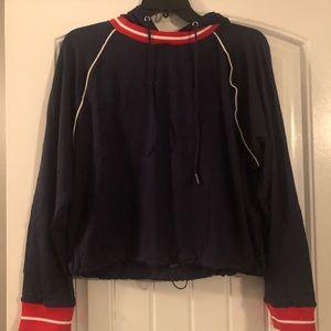 Navy blue bungee hem hoodie
